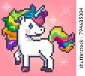 pixel art character magic...   Shutterstock .eps vector #794685304