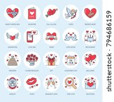 valentines day flat line icons. ... | Shutterstock .eps vector #794686159