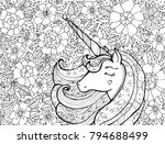 unicorn and flowers. magical... | Shutterstock .eps vector #794688499