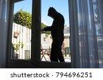 a burglar tries to break in a...   Shutterstock . vector #794696251