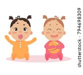 newborn baby girl twins in long ... | Shutterstock .eps vector #794698309