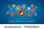 vegetables and fruits flat icon ...   Shutterstock .eps vector #794698831