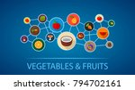 vegetables and fruits flat icon ...   Shutterstock .eps vector #794702161