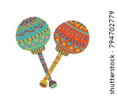 colorful maracas with mexican... | Shutterstock .eps vector #794702779