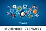sport flat icon concept. vector ... | Shutterstock .eps vector #794702911