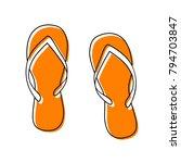 flip flop sign. vector. black... | Shutterstock .eps vector #794703847
