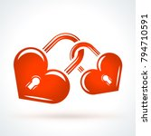 two heart shaped locks. st.... | Shutterstock .eps vector #794710591
