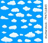 clouds set isolated on blue... | Shutterstock .eps vector #794711845