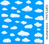 clouds set isolated on blue... | Shutterstock .eps vector #794711851