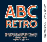 vector set of retro letters ... | Shutterstock .eps vector #794712889