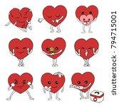 set of emotion feeling hearts... | Shutterstock .eps vector #794715001