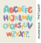vector cartoon ste of colored... | Shutterstock .eps vector #794716609