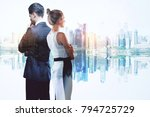 businessman and woman on... | Shutterstock . vector #794725729