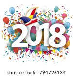 2018 with colored confetti and... | Shutterstock .eps vector #794726134