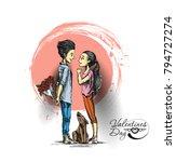 romantic lovers for valentine's ... | Shutterstock .eps vector #794727274