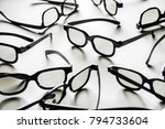 a lot of 3d glasses on a white... | Shutterstock . vector #794733604