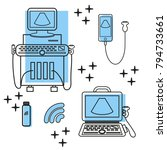 ultrasound machine and portable ... | Shutterstock .eps vector #794733661