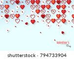 red hearts on blue background... | Shutterstock .eps vector #794733904