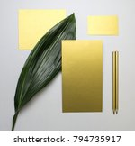 set of gold paper cards with... | Shutterstock . vector #794735917