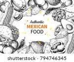 mexican food sketch label in...   Shutterstock .eps vector #794746345
