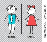 funny wc door plate symbols. wc ... | Shutterstock .eps vector #794750011