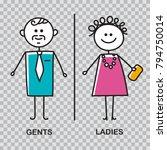 funny wc door plate symbols. wc ... | Shutterstock .eps vector #794750014