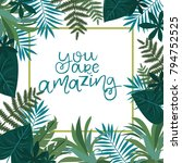 tropical card for invitation ... | Shutterstock .eps vector #794752525