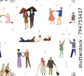 seamless pattern with people in ... | Shutterstock .eps vector #794753437