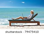 young woman with laptop at the... | Shutterstock . vector #79475410