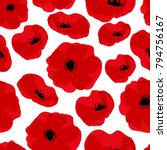 Poppy Seamless Pattern. Red...
