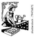 Woman Planting Garden   Retro...