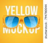yellow sunglasses on yellow... | Shutterstock .eps vector #794780044