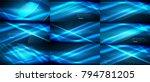 set of vector neon smooth wave... | Shutterstock .eps vector #794781205