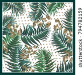 silk scarf with palm leaves on... | Shutterstock .eps vector #794782159