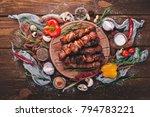 marinated baked kebab with...