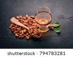 amaretto almond liquor. almond... | Shutterstock . vector #794783281