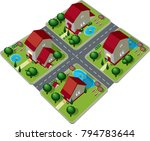 view of houses from the top | Shutterstock .eps vector #794783644