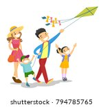 happy caucasian white family... | Shutterstock .eps vector #794785765