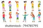 caucasian white children and... | Shutterstock .eps vector #794785795