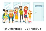 group of caucasian white young... | Shutterstock .eps vector #794785975