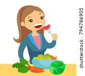 happy caucasian white woman... | Shutterstock .eps vector #794786905