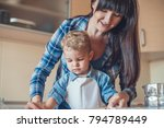 mother and son cooking in... | Shutterstock . vector #794789449
