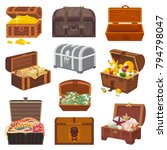 chest vector treasure box with... | Shutterstock .eps vector #794798047
