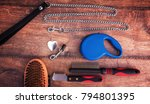 Stock photo dog accessories on wooden background top view pets and animals concept 794801395
