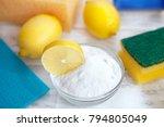 baking soda  lemon  sponge and... | Shutterstock . vector #794805049