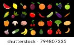set of fruits and vegetables   Shutterstock .eps vector #794807335