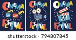vector cartoon set of retro... | Shutterstock .eps vector #794807845