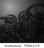 steel gears on a grunge... | Shutterstock . vector #794811175
