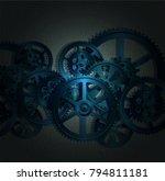 steel gears on a black... | Shutterstock . vector #794811181