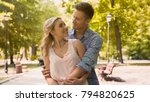 cute guy and girl looking at... | Shutterstock . vector #794820625